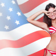 20-25 years old beautiful woman in swimsuit with american flag a — Stock Photo #8663454
