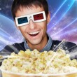 Portrait of young stylish modern man wearing 3d glasses watching — Stock Photo