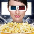 Portrait of young stylish modern woman wearing 3d glasses watchi - Photo