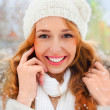 Portrait of beautiful young red hair woman outdoors in winter lo — Stock Photo #8663712