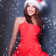 Portrait of beautiful young christmas woman posing wearing santa — Stock Photo #8664077