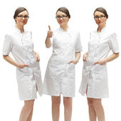Young medical doctor woman presenting and showing copy space for — Stock Photo