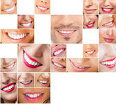 Faces of smiling in set. Healthy teeth. Smile — Stock Photo