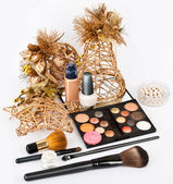 Group of makeup products isolated on white in beautiful Stillife — Stock Photo
