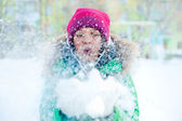 Christmas Girl.Winter woman Blowing Snow. Front View — Stock Photo