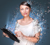 Poster photo of young pretty woman using her tablet computer and — Stock Photo