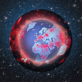 Graphic illustration of Earth inside dark coating. War, pollutio — Stock Photo
