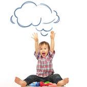 Portrait of happy joyful beautiful little boy isolated on white — Stock Photo