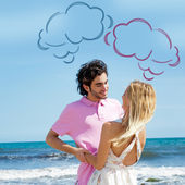 Young couple at beach, embracing, side view. Natural emotions. H — Stock Photo