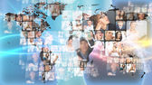 Photo of business are glowing at world map. International — Stock Photo
