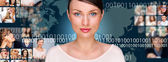 A young pretty woman against world map on background with many d — Stockfoto