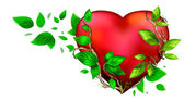 Beautiful bright heart of red color with green leaves floating a — Stock Photo