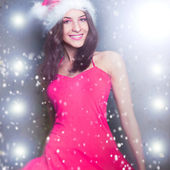 20-25 years od beautiful woman in christmas dress dancing at clu — Stock Photo