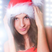 20-25 years od beautiful woman in christmas dress — Stock Photo