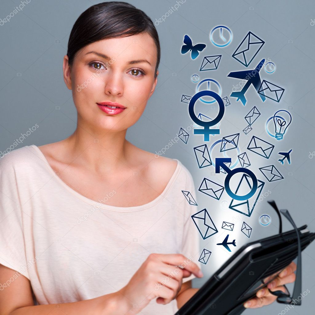 Portrait of pretty young woman holding Touch Screen tablet computer and using it to manage all her deals and needs. Multifunctional modern device. Manage your l — Stock Photo #8663593