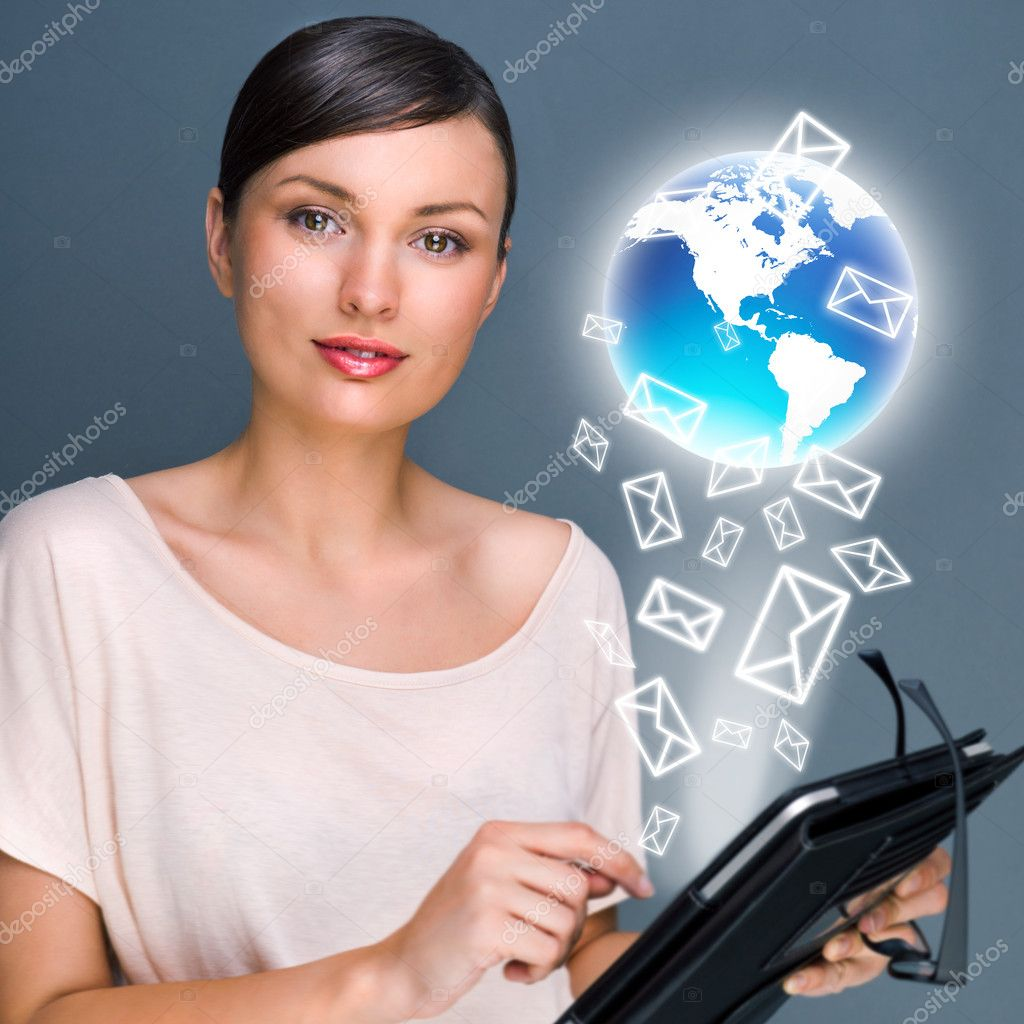 Portrait of pretty young woman holding Touch Screen tablet computer and working with her mail — Stock Photo #8663605