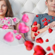 Young couple lying in their bed thinking about something. Red he — Stock Photo