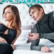 Fashion style photo of an attractive young couple inside luxury — Stock Photo #8768202