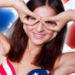 20-25 years old beautiful woman in swimsuit with american flag a — Stock Photo #8773163