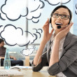 Portrait of a beautiful young businesswoman on the phone and hap — Stock Photo #8773206