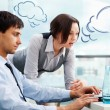 A business team of two colleagues planning work in office. Blank — Foto Stock