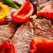 Stock Photo: bbq meat with vegetables and greens