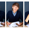 Stock Photo: Collage of young employer signing documents during working day