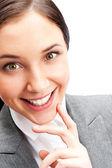Portrét krásné mladé ženy s úsměvem — Stock fotografie
