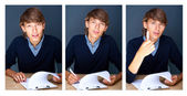 Collage of young employer signing documents during working day — Stok fotoğraf