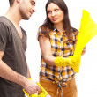 Couple preparing for renovation of their home — Stock Photo #9105682