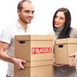 Young smiling couple carries a boxes — Stock Photo #9105773