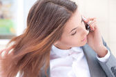 Portrait of beautiful business woman on the phone — Foto de Stock