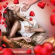 Fashion style photo of an attractive young couple celebrating Valentine day — Foto Stock #9248560