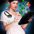 Poster portrait of young beautiful woman holding her universal device - tablet pc. Lots of things are appearing from the display. Universality of modern devices concept — Stock Photo