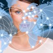 Portrait of young pretty woman looking at camera and standing in front of world map with glowing connection lines and server location points. Global Internet communications technology — Stock Photo #9248845