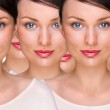 Pretty young woman standing with her clones against white background. Business cloning concept or rejuvenation with stem cells concept — Stock Photo #9248887