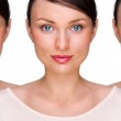 Pretty young woman standing with her clones against white background. Business cloning concept or rejuvenation with stem cells concept — Stock Photo #9248889