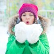 Christmas Girl. Winter woman Blowing Snow. Front View — Stock Photo