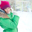Portrait of a winter woman playing with snow — Stock Photo #9248999