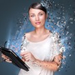 Poster photo of young pretty woman using her tablet computer and falling to pieces. Virtual life concept — Stock Photo