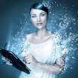 Stock Photo: Poster photo of young pretty woman using her tablet computer and falling to pieces. Virtual life concept. Frozen cold look