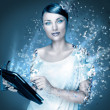 Poster photo of young pretty woman using her tablet computer and falling to pieces. Virtual life concept. Frozen cold look — Stock Photo
