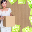 Close-up portrait of a young woman with boxes moving to her new home. Carrier service concept — Stock Photo