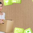 Close-up portrait of a young woman with boxes moving to her new home. Carrier service concept — Stock Photo #9249073