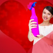 Portrait of young pretty woman holding bottle of prefect wine in gift decorative package against love valentine background with heart shape - 图库照片