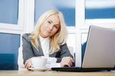 Portrait of businesswoman working on laptop at her office — Stock Photo