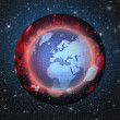 Graphic illustration of Earth inside dark coating. War, pollution, danger concept - Stock Photo