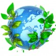 Eco blue globe with green leaf illustration - Stock Photo
