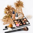 Group of makeup products isolated on white in beautiful Still life - Stock Photo