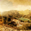 Panoramic view of beautiful mountains and lofty lake. Guadalest, Spain. Old photo style — Stock Photo